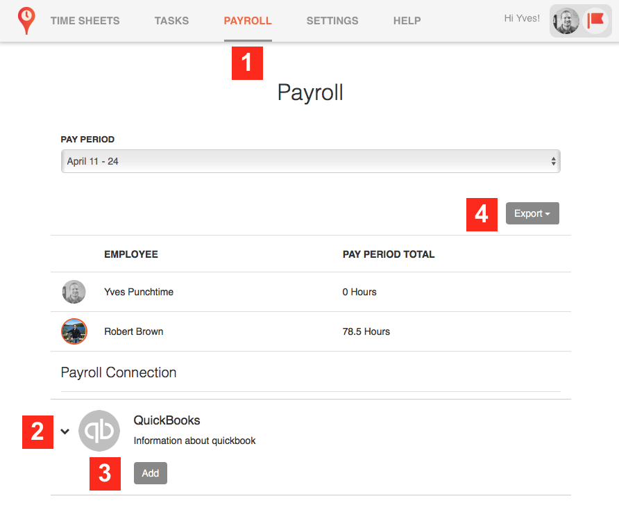 exporting payroll data from Punchtime to Quickbooks for Windows