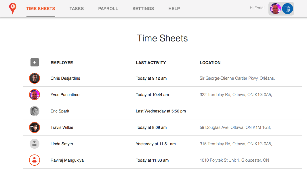 punchtime time sheet view